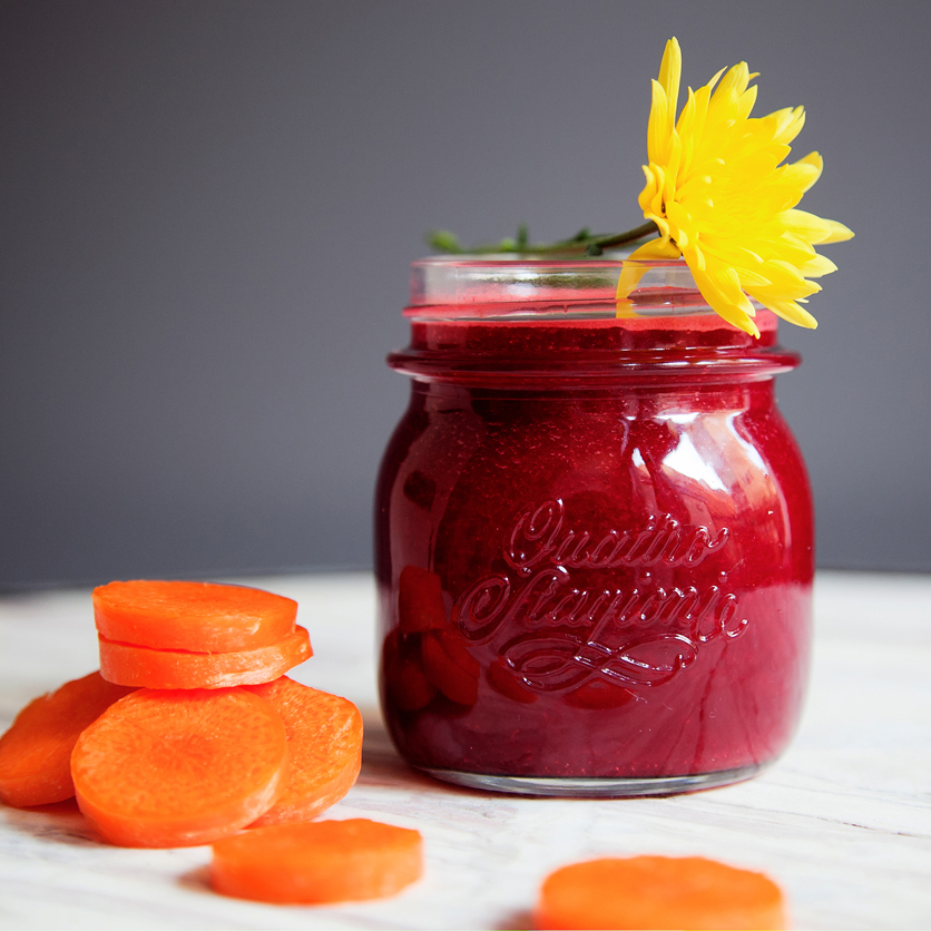 Healthy fresh Juice, beetroot, carrot, ginger
