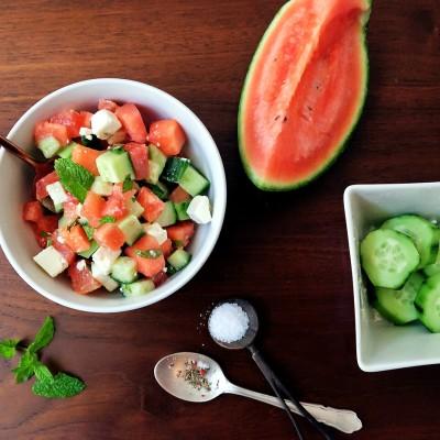 Watermelon feta salad, ensalada de sandia